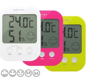 [일본 드레텍] 디지털 온습도계 O-230 얼굴표시온습도계 5단계표시 온도 습도 측정기 측정계 계측기
